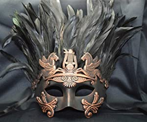 Mens Mythological Bronze/black Feather Hercules Greek Style Party Mask Mens Mythological Greek Style Party Mask Mardi Gras Party Halloween Ball Prom