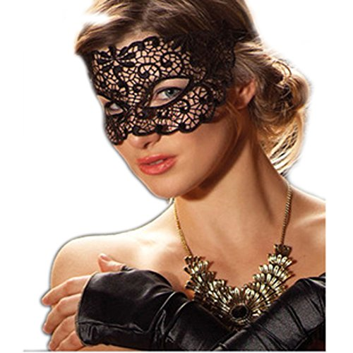 [Goldworld Venetian Party Lace Carnival Club Mask Black] (Venetian Carnival Masks)