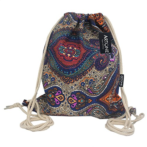 artone-bohemia-style-canvas-drawstring-bag-travel-daypack-sports-portable-backpack-sapphire