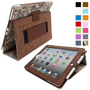 Snugg iPad 2 Leather Case in Digital Camo - Flip Stand Cover with Elastic Hand Strap and Premium Nubuck Fibre Interior - Automatically Wakes and Puts the Apple iPad 2 to Sleep