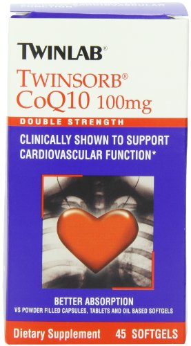 Twinlab Twinsorb CoQ10, Double Strength, 100mg, 45 Softgels