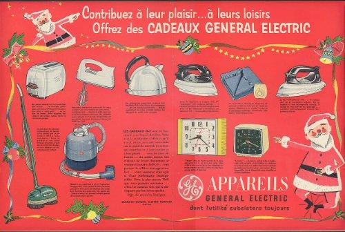Xmas Cadeaux General Electric Vacuum Cleaner Iron Toaster + Ad 1953 Santa