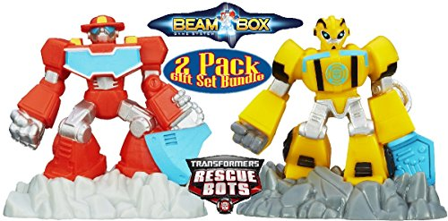Transformers Playskool Heroes Rescue Bots Robot Beam Bots Heatwave & Bumblebee Gift Set Bundle - 2 Pack