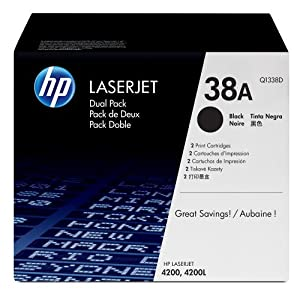 HP LaserJet 38A Print Cartridge - Retail Packaging - Dual Pack - Black Q1338D