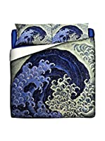 JAPAN MANIA by MANIFATTURE COTONIERE Edredón Katsushika Hokusai-Feminine Wave (Azul/Multicolor)