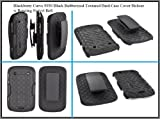 For Blackberry Bold 9900 9930 Black Rubberized Textured Hard Case Cover Holster w Rotating Swivel Belt Clip Stand Combo