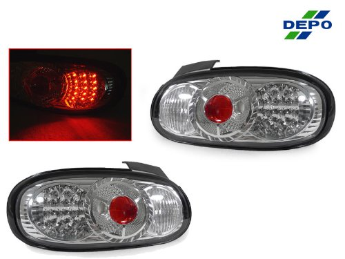 A Pair Of Depo Clear Lense With Chrome Housing (Altezza) Led Tail Lights - Mazda Mx-5 Miata 1998-2005