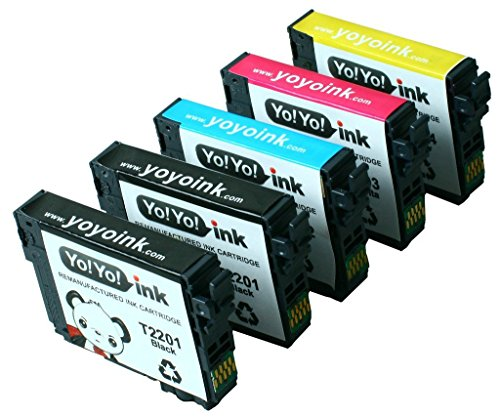 YoYoInk Remanufactured Ink Cartridges Replacement for Epson 220 220XL T220XL (2 Black, 1 Cyan, 1 Magenta, 1 Yellow, 5-Pack) - With Ink Level Display Indicator