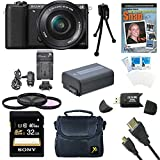 Sony a5100 ILCE5100L/B ILCE5100L ILCE5100 ILCE5100lb 16-50mm Interchangeable Lens Camera with 3-Inch Flip Up LCD (Black) Bundle with Sony 32GB Class 10 SD card, Spare Battery, Rapid AC/DC Charger, Micro HDMI Cable, Filter Kit, Photography DVD + More