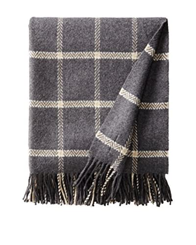 Foxford Luxury Cashmere & Lambswool Windowpane Throw, Grey