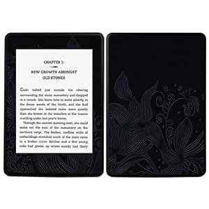 Diabloskinz B0085-0004-0050 selbstklebender Vinyl Skin für Amazon Kindle Paperwhite Etched Flowers Black