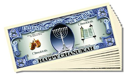 Happy Chanukah Million Dollar Bill - 25 Count with Bonus Clear Protector & Christopher Columbus Bill