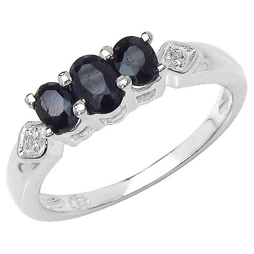 The Sapphire Ring Collection: Ladies Sterling Silver 3 Stone Black Sapphire Engagement Ring (Size N)
