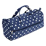 Soft Knitting Bag - Navy Polka Dot