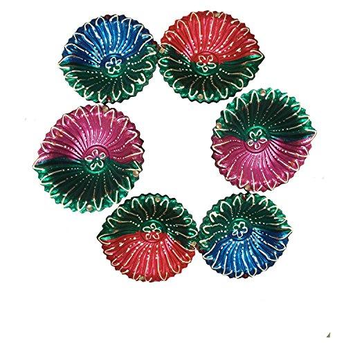 Terracotta Multi color Diwali Diya for Diwali Celebration, Pack of 6