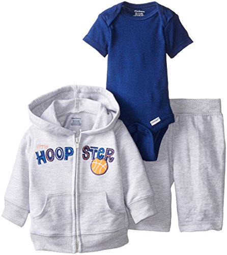 Gerber Baby Boys' Basketball 3 Piece Hooded Jacket Bodysuit and Pant Set, Gray, Newborn