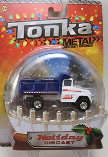 Santa's Workshop Blue & White Dump Truck Tonka Metal Holiday Diecast 1:50 Scale - 1