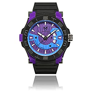Meister Watches / MSTR Watches Men's Prodigy Watch | PR109 | Black / Purple & Black | Stainless-Steel / Plastic Case And Rubber Band
