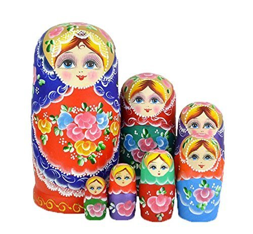 Leegoal-New-Set-of-7pc-Nesting-Dolls-Authentic-Russian-Wooden-Matryoshka-Birthday-Gifts