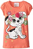 Beautees Little Girls Puppy Dog with Flowers Top, Sweet Peach, 5