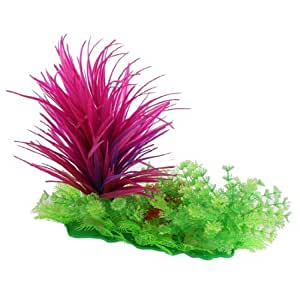 Aquarium Plastic Fuchsia Long Plants Green Snowflake Grass Decor 11.4High