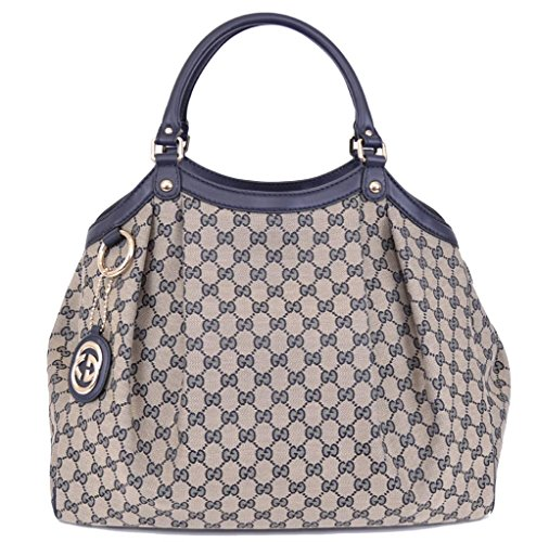 Gucci 368640 Large Blue Beige Canvas GG Guccissima Sukey Purse HandBag Tote
