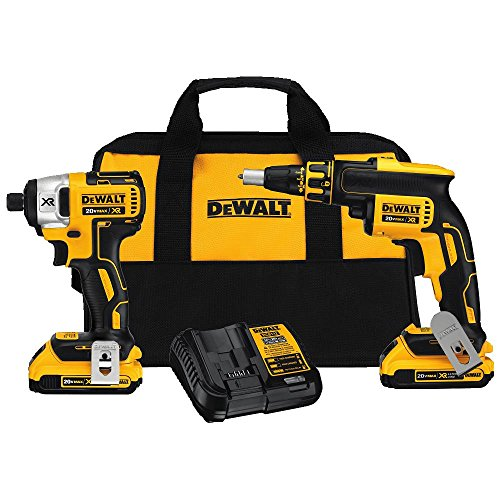 DEWALT-DCK261D2-20AH-20-volt-MAX-XR-Li-Ion-ScrewGun-and-Impact-Combo-Kit