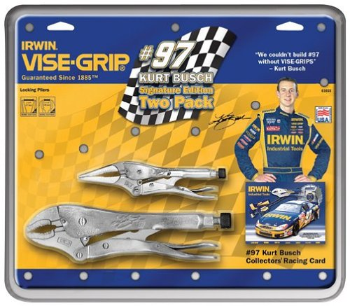 Irwin 616SS Vise Grip 2 Piece 6-Inch Long Nose and 10-Inch Curved Kurt Busch Signature Series Locking Plier SetB0000AWJLW