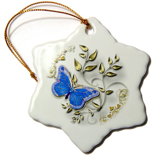 3dRose orn_150948_1 Blue Butterfly and Gold Accents Snowflake Ornament, Porcelain, 3-Inch