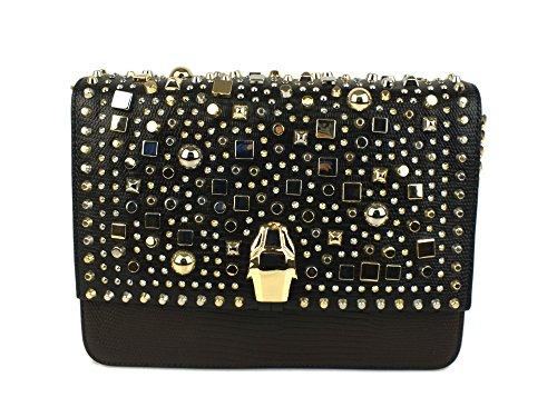 CAVALLI CLASS Milano Bag borsa tracolla PELLE DARK BROWN CLN.008 U