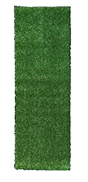 Ottomanson Evergreen Collection Indoor/Outdoor Green Artificial Grass Turf Solid Design Runner Rug, 2\'7\