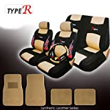 Universal Stylish Synthetic Leather Car SUV Seat Covers Set with Steering Wheel Covers Shoulder Pads and Carpet Floor Mats Set