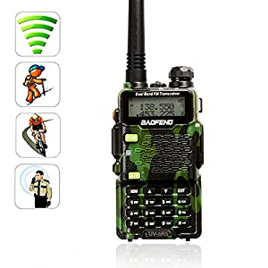 [Avec la fonction de lampe de poche] AGPtek 2015 Baofeng UV-5R5 Dual Band UHF / VHF 5W talkie walkie émetteur-récepteur Radio avec Ecouteur Double Radio Band 136-174/400-470MHz(une pièce)