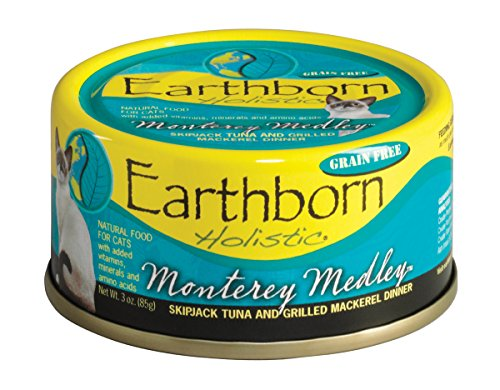 Earthborn Holistic Monterey Medley Skipjack Tuna And Grilled Mackerel Dinner Wet Cat Food, 3-Ounce Can, 24-Pack