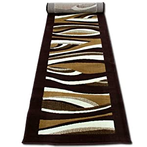 tapis tapis de couloir moderne cm 70 x 240 brun beige. Black Bedroom Furniture Sets. Home Design Ideas
