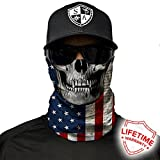 SA Company Face Shield Micro Fiber Wind, Dirt Bugs.Keep Warm On Cool Days. Worn as a Balaclava, Neck Gaiter, Head Band, Doo RAG For Hunting, Fishing Cycling and Salt Lovers. - American Flag Skull (Color: American Flag Skull, Tamaño: Universal)