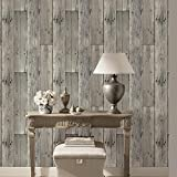 """HaokHome 8E022 Woods Textured Wallpaper Roll Gray Wood Panel Home Room Wall Decoration 20.8"""" x 393.7"""""""