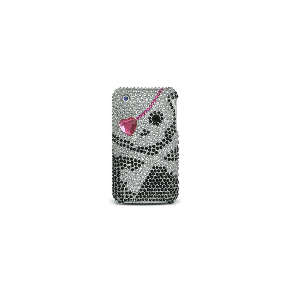 NEW HEART SKULL DIAMOND/RHINESTONE CASE COVER FOR APPLE iPHONE 3G 3GS