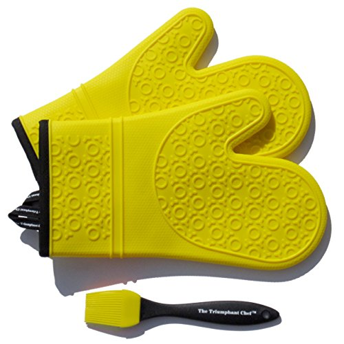 Super Flex Silicone Oven Mitt, Deluxe Quilted Liner, 1 Pair, Canary Yellow, Bonus Sauce Brush (Oven Mitts Small compare prices)