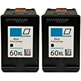 HouseOfToners 2pk HP 60XL (CC641WN) High Capacity Black Replacement Ink Cartridges (Remanufactured in the USA)