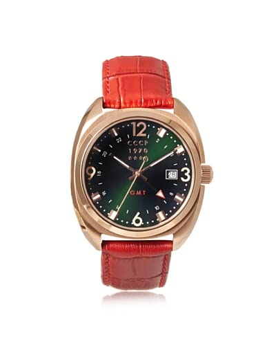 CCCP Men's 7016-03 Aviator Red Brown/Green/Rose Stainless Steel Watch