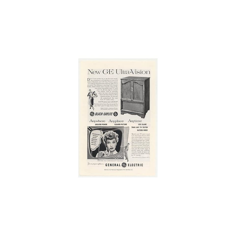 1952 Lucy Lucille Ball GE Ultra Vision 21C206 TV Print Ad