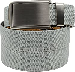 SlideBelts Men's Canvas Belt without Holes - Silver Buckle / Grey Canvas (Trim-to-fit: Up to 48