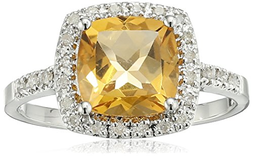 Sterling Silver Cushion Citrine Diamond Ring