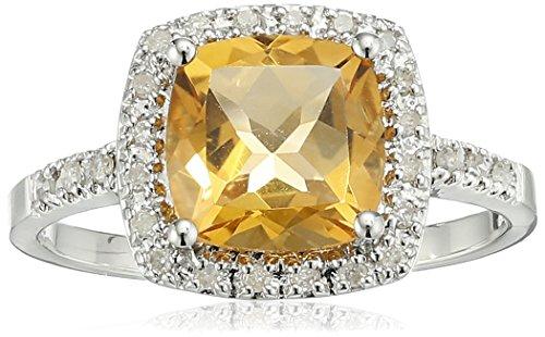 Sterling Silver Cushion Citrine Diamond Ring