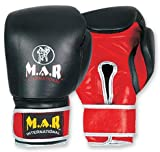 M.A.R International Ltd Genuine Leather Boxing Gloves For Adults Kickboxing Gear Thai Boxing Equipment Mma Supplies Muay Thai Training Black 18Oz 18Oz