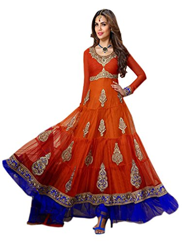 shreeji fashion Bollywood Actress Esha Gupta Fashionable Orange Anarkali Suit