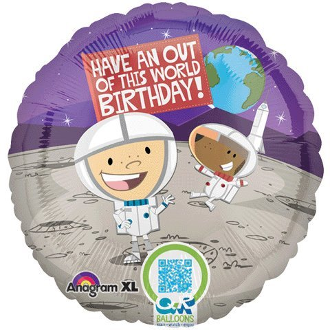 "18"" Happy Birthday Outer Space Astronaut Foil Balloon"