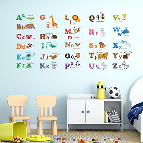 Decowall, DW-1308, Alphabet & Animals Wall Stickers/Wall decals/Wall tattoos/Wall transfers