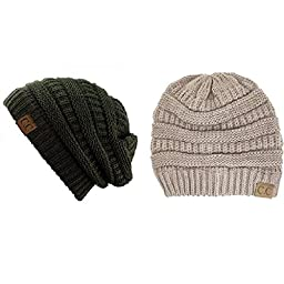 Trendy Warm Chunky Soft Stretch Cable Knit Slouchy Beanie Skully HAT20A (One Size, 2 PACK DARK OLIVE/BEIGE)